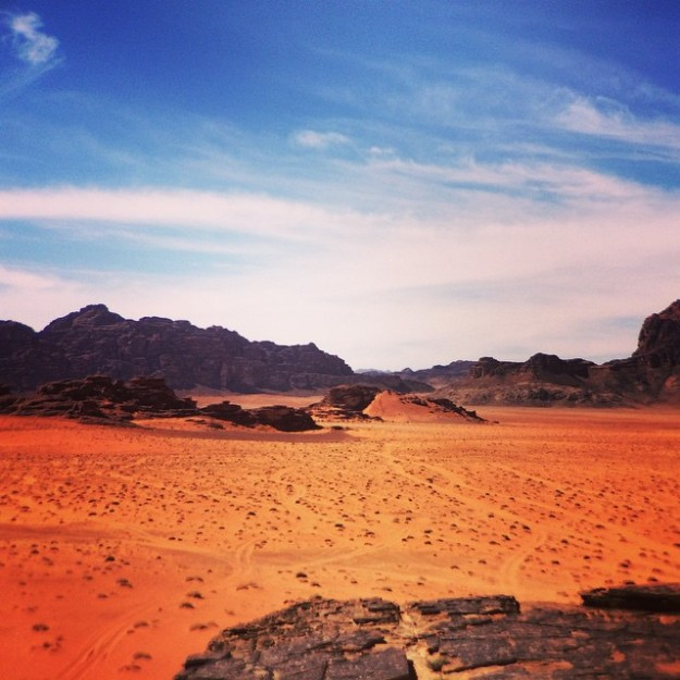 Driving through Wadi Rum