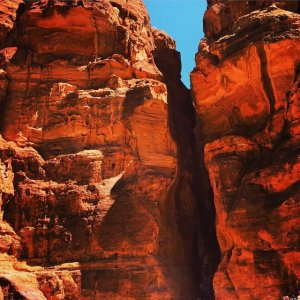 Siq at Petra. You emerge from this cleft at the Treasury